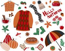 Set With The Inscription Hello Autumn. Sweater, Umbrella, Pumpkins, Chestnut, Leaves, Oak, Acorn, Jam, Tea, Mulled Wine, Scarf, Hat, Rubber Boots, Mountain Ash, Apple Pie Charlotte, Oven Mitts