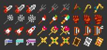 Pixel Art Vector Game Weapon Icon Set 3 (8bit-color)