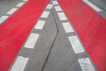 Cycle Path With Red Marking On The Road