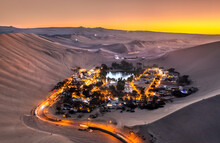 Aerial Sunset View Of The Huacachina Oasis In Peru