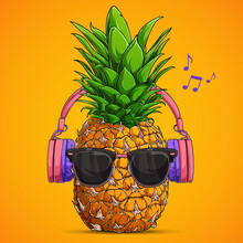 Fashion Pineapple With Sunglasses And Headphones Listens To Music Over Yellow Background