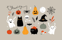 Halloween Clipart, Illustrations And Design Elements Set.
