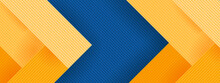 Abstract Background In Blue Green And Yellow Colours. Colourful Concept With 3d Effect And Diagonal Stripes. Creative Banner For Social Media, Website Or Print.