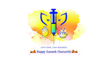 Concept For Ganesh Chaturthi Festival Background With Corona Covid 19 Vaccine Syringe Injection And Mask