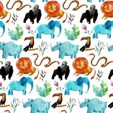 Cute Seamless Pattern With Safari Animals, And Tropical Plants. Endless Background In Childish Style For Fabric, Textile, Kids