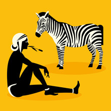 Woman And Zebra