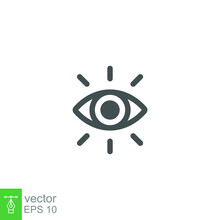 Eye Vector Icon Line. Eye Ball For Vision Symbol. Lens Bright, Visibility, Vision, Eye Sight. Optic Clinic Symbol. Modern Style Web Page Template. Vector Illustration Design On White Background EPS 10