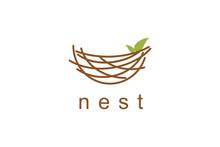Nest Illustration Logo Design Symbol Vector Template