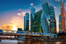 Moscow Architecture. Skyscrapers Of Russia. Downtown Moscow. Business Center Of Russian Capital. Modern Architecture Of Moscow. Russian City At Sunset. Skyscrapers On Sunset Background.