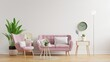 Leinwandbild Motiv Living room wall mockup in bright tones with have sofa and lamp with white wall background.