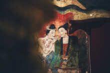 World's Famous Love Whispering Mural At Wat Phumin, Nan, Thailand, This Temple Is The Most Famous Temple In Nan Province.