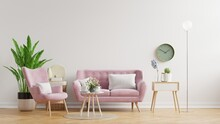 Living Room Wall Mockup In Bright Tones With Have Sofa And Lamp With White Wall Background.