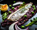 Fototapeta Kawa jest smaczna - Marinated herring fillet with beetroots puree, hard boiled boiled egg, onion and green peas on wooden black table