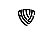 Amg Creative Letter Shield Logo Design Vector Icon Illustration