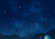 星空とキャンプ 横長