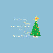 """""""We Wish You A Very Merry Christmas And Happy New Year"""".  To The Right Of The Text Is A Christmas Tree Decorated With Toys And Garlands.  Christmas And New Year Vector Illustration."""