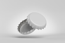White Beer Caps On Gray Background, 3D Rendering.