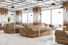 White And Beige City Cafe Interior With Double Sided Sofas