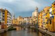 Girona medieval city, panoramic from the famous red bridge Pont de les Peixateries Velles, Costa Brava of Catalonia