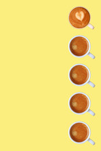 Vertical Row Of Frothy Espresso Coffees Pattern On Yellow Background