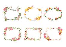 かわいい秋の花のフレームセット01