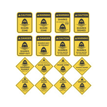 Shark Warning Sign In Yellow. Sharks, Danger, Keep Out Vector.