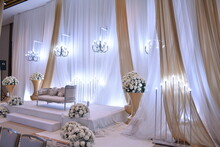 Luxury Wedding Rom Banquet Sit Down Muslim Buffet Party Catering With Flower Decoration Fusion Halal Menu At Beautiful Hotel Restaurant Vip Ballroom