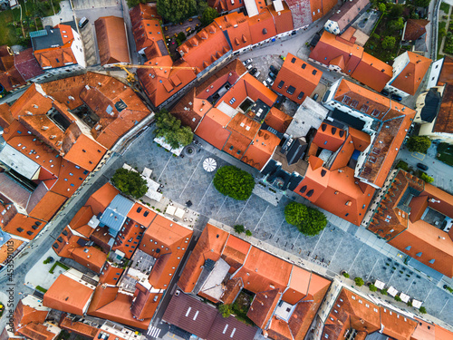 Aerial View of Red Roof in Old Town Novo Mesto in Slovenia