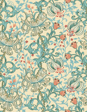 Seamless Pattern With Victorian Flowers In The Style Of William Morris