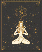 Girl In Lotus Pose With The Omm Sign, With Chakras Among The Stars, Tarot Cards, Sacred, Calm