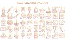 Diwali Thin Gradient Icon Set. Included Icons As Deepavali Celebrate, Light Festival, Candle, Lamp, Hindu Celebration More. Used For Modern Concepts, Web, UI Or UX Kit And Applications, EPS 10.