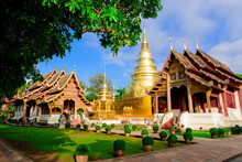 Wat Phra Sing And Buddhist Temple, Chiang Mai Province, Thailand.