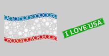 Rubber I Love USA And Mosaic Waving Crimea Flag Created Of Sun Icons. Green Seal Has I Love USA Tag Inside Rectangle. Vector Sunny Mosaic Waving Crimea Flag Created For Holiday Advertisement.