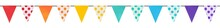Colorful Pennant Flags Banner With Blank And Polka Dot Pattern In Rainbow Colors: Red, Orange, Yellow, Green, Blue And Violet. Seamless Repeatable Hand Painted Water Color Clip Art Element For Design.