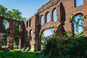 Velyki Mosty, Ukraine - july, 2021: the ruins of Synagogue in Velyki Mosty.