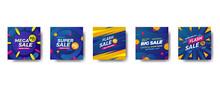 Special Offer Sale Discount Promotion Square Social Media Banner. Super Sale, Mega Sale, Big Sale, Flash Sale With Blue Background Modern Pattern