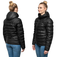Young Female Model Posing In Black Down Jacket Isolated On White Background. Winter And Autumn Women Down Jacket Mockup