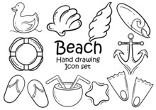 Set Of Hand Drawn Icons About Sea Or Beach On White Background