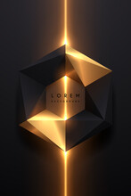 Abstract Black And Gold Geometric Shape With Light Effect