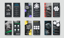 Vector Dl Flyer Template With Colored Geometric Elements, Place For Photo, On Black Background. Set