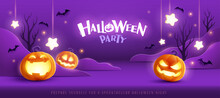 Happy Halloween. Group Of 3D Illustration Glowing Pumpkin On Treat Or Trick Fantasy Fun Party Celebration Purple Background Design.