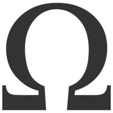 Omega Greek Letter Vector Illustration. Flat Illustration Iconic Design Of Omega Greek Letter, Isolated On A White Background.