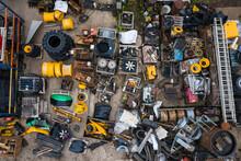 Aerial View Of A Scrap Metal Merchant Junkyard