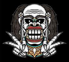Balinese Celuluk Mask Illustration