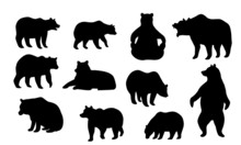 Collection Of Bear Silhouettes In Various Poses. Set Of Icons With Wild Animal. Design Elements For Social Networks And Printing On Paper. Cartoon Flat Vector Stickers Isolated On White Background