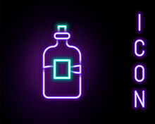 Glowing Neon Line Glass Bottle Of Vodka Icon Isolated On Black Background. Colorful Outline Concept. Vector
