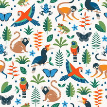 Vector Seamless Tropical Pattern With Rainforest Jungle Animals And Leaves On White Background. Flat Surface Design.
