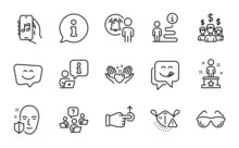 People Icons Set. Included Icon As Drag Drop, Music App, Teamwork Question Signs. Yummy Smile, Salary Employees, User Notification Symbols. Smile Face, Hold Heart, Eyeglasses. Success. Vector