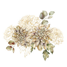 Watercolor Autumn Bouquet Of Gold Dahlia And Linear Leaves. Hand Painted Flowers Isolated On White Background. Floral Illustration For Design, Print, Fabric Or Background.