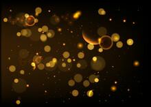 Abstract Golden Shiny  Bokeh Glitter On Dark Black Background